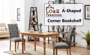 O&K Furniture 5 Shelf Industrial Corner Bookcase And Shelf,