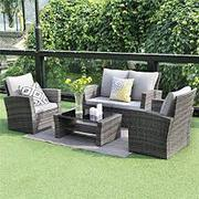 Wisteria Lane 5 Piece Outdoor Patio Furniture Sets,  Wicker Ratten Sect