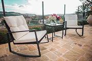 SUNCROWN Outdoor 3-Piece Rocking Bistro Set: Black Wicker Furniture-Tw