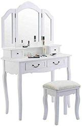 White Wood Tri Folding Mirror Vanity Makeup Table Dresser Desk Set St