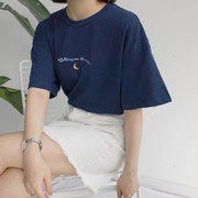 2019 NEW CUTE MOON EMBROIDERY PRINTED SHORT SLEEVE T SHIRT