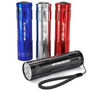 BYB Pack Of 4,  Super Bright 9 LED Mini Aluminum Flashlight With Lanya