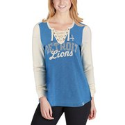 NFL Detroit Lions Womens Blue The Lace-Up Long Sleeve Tee