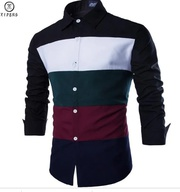 SLIM FIT MEN LONG SLEEVE STRIPED COLOR SHIRT