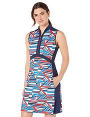 Greg Norman Liberty S/l Sculpted Mock Collar Dress,  Navy,  Large
